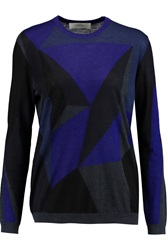 Pringle Intarsia Knit Cashmere And Silk Blend Sweater Black