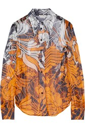 Miu Miu Floral Print Silk Chiffon Shirt Orange