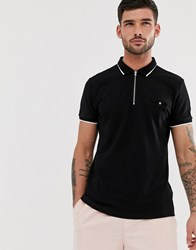 New Look Muscle Fit Polo In Black
