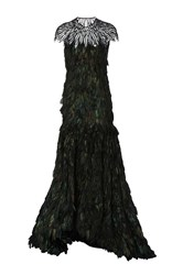 Naeem Khan Feather And Sequin Embroidered Gown Green