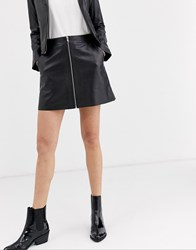 Muubaa Zip Front A Line Leather Skirt Black