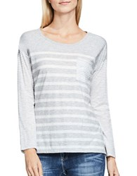 Vince Camuto Mixed Ink Stripe Tee Grey