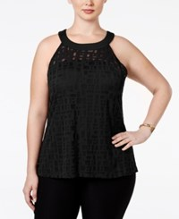 Inc International Concepts Plus Size Illusion Halter Top Only At Macy's Deep Black