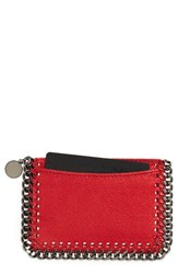 Stella Mccartney Women's 'Falabella Shaggy Deer' Card Case Red Cherry Silver