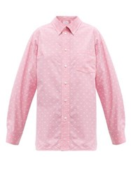 Balenciaga Mini Bb Print Oversized Cotton Poplin Shirt Pink White