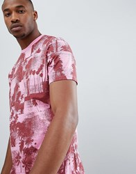 Asos Relaxed T Shirt With All Over Palm Print Pink