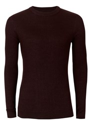 Topman Red Burgundy Twist Ribbed Muscle Fit Jumper
