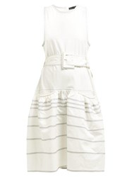 Proenza Schouler Dropped Waist Topstitched Stretch Cotton Dress White