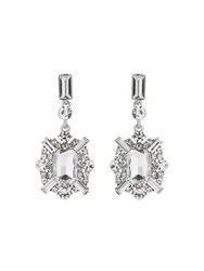 Mikey Rectangle Edged Cubic Drop Earring White