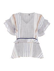 Maison De Nimes Stripe V Neck Woven Top Neutral