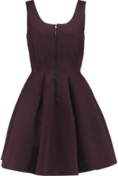 Maje Mesh And Neoprene Mini Dress Burgundy