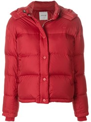 Wood Wood Alyssa Puffer Jacket Feather Down Nylon Polyester Red