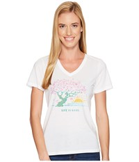 Life Is Good Blossom Tree Cool Vee Cloud White Women's T Shirt