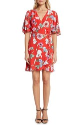 Willow And Clay Floral Wrap Dress Lipstick