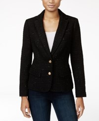 Maison Jules Metallic Detail Boucle Blazer Only At Macy's Black Combo