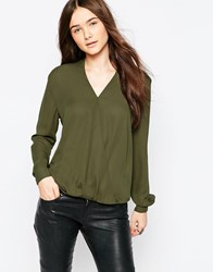 Brave Soul Long Sleeve Wrap Front Blouse Khaki