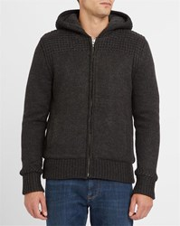 Schott Nyc Charcoal Zipped Sherpa Cardigan Grey