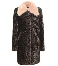 Shrimps Piper Leopard Printed Faux Fur Coat Brown
