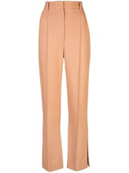 Khaite Creased High Waisted Trousers Pink
