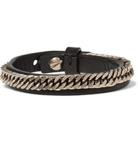 Givenchy Chain Detailed Leather Bracelet Black