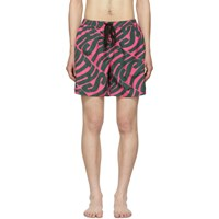 Double Rainbouu Pink And Green 'Synth' Uuave Night Swim Shorts