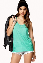 Forever 21 Striped Racerback Tank Green White