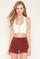Forever 21 Lace Up Cropped Halter Top