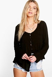 Boohoo Woven Crinkle Button Through Blouse Black