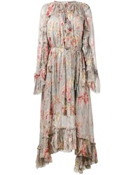 Zimmermann Floral Print Long Sleeve Dress Women Silk Polyester Spandex Elastane 1