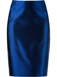 Martha Medeiros High Waist Pencil Skirt Blue