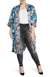 Rachel Roy Plus Size Rebel Kimono Teal Blue Combo