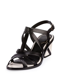 Skyscraper Strappy Leather Sandal Black White Roger Vivier