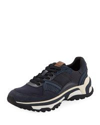 Coach C143 Runner Monochrome Leather Sneakers Navy