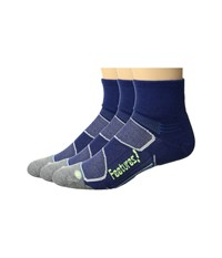Feetures Merino Cushion Quarter 3 Pair Pack Navy Reflector Quarter Length Socks Shoes Blue