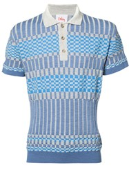 Orley Panelled Knit Polo Shirt Blue