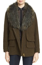 Smythe Women's 'Flak' Wool Blend Jacket With Removable Faux Fur Collar