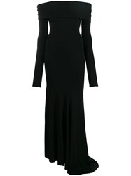 Alexandre Vauthier Bardot Long Sleeve Evening Dress Black