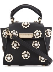 Zac Posen Mini 'Earthy Iconic Top Handle' Floral Crossbody Bag Black