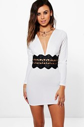 Boohoo Petite Annie Crochet Trim Waist Bodycon Dress Ivory