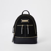 River Island Black Mini Zip Pocket Backpack