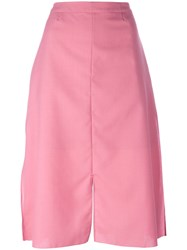 Julien David Slit Midi Skirt Women Silk Polyester Wool S Pink Purple
