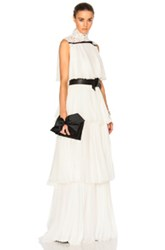 Giambattista Valli Pleated Georgette Tiered Gown In White