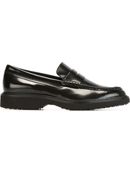 Hogan Rubber Sole Penny Loafers Black