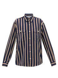 Schnayderman's Jacquard Striped Twill Shirt Navy Multi