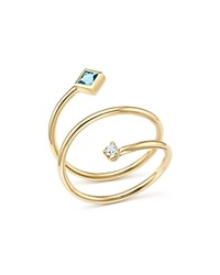 Zoe Chicco 14K Yellow Gold Diamond And Aquamarine Wrap Ring 100 Exclusive Blue White