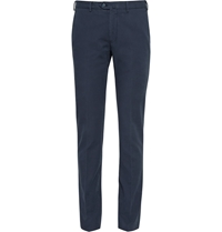 Loro Piana Regular Fit Washed Stretch Cotton Trousers Blue