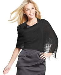Style And Co. Woven Metallic Crochet Wrap Champagne