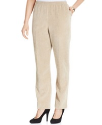 Alfred Dunner Petite Corduroy Straight Leg Pants Tan