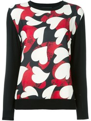 Boutique Moschino Heart Print Jumper Black