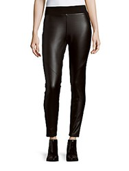 Saks Fifth Avenue Faux Leather Solid Leggings Black